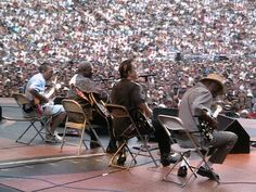 Left to right - Eric Clapton, BB King, Jimmy Vaughan, Buddy Guy at the Crossroads Guitar Festival, Cotton Bowl, Dallas TX, June 2004