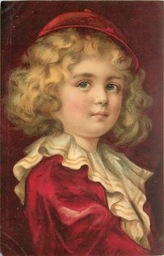 child, dressed in red with small cap with button on top looks ahead, right shoulder in front, frilly collar