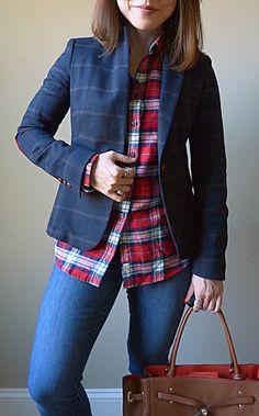 plaid blazer plaid blouse