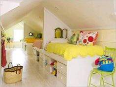 You can do so much with attic space that you probably thought you could not do. Decorate for a boy or girl.  Take this idea from early childhood to teen.  Tweens and teens will love the privacy.