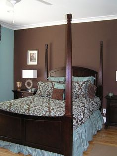 Blue Brown Paint Bedroom With Grey Checkerboard Accent And Ideas For Colors