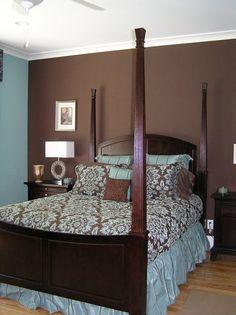 brown blue bedding walls