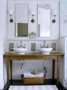 #recycled table for #bathroom vanity in LOVE with the table and the faucets