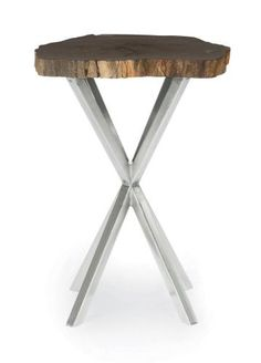 336-104 Black Petrified Wood Stone Chair side Table | Bernhardt Dia 20 H 23.5 $1117.50 #2Foot Round #Showroom