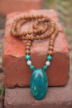 Exclusive Chrysocolla Sandalwood Mala - Meditation Inspired Yoga Beads / Mala beads BOHO chic