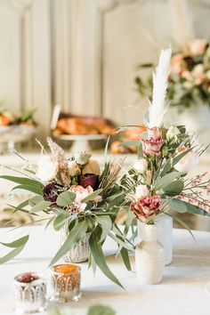 Flowers Centrepiece Table Decor Tablescape Oxblood Peach Rose Pampas Grass Greenery Trendy Beautiful French Elopement Wedding Ideas http://oliviamarocco.com/ #weddingflowers #centrepiece #pampasgrass