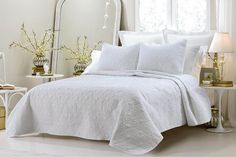 Oversized-3pc Quilted Coverlet Set- White This over-sized coverlet is a perfect layering piece or an alternative to your comforter for a new solid look. The classic stitch pattern pairs easily with yo