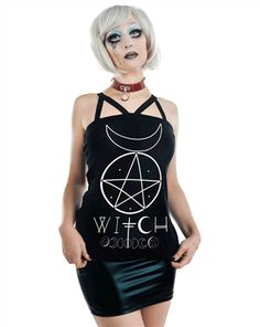Rat Baby - DEVILISH TOP - WITCH by Rat Baby Clothing Pentacle Moon Occult Top - #infectiousthreads #goth #gothic #horrorpunk #punk #alt #alternative #psychobilly #punkrock #black #fashion #clothes #clothing #darkfashion #streetfashion #witch #witchtop