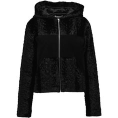 T by Alexander Wang - Paneled Faux Fur And Suede Hooded Jacket ($448) ❤ liked on Polyvore featuring outerwear, jackets, black, a line jacket, sporty jacket, t by alexander wang, zip jacket and t by alexander wang jacket