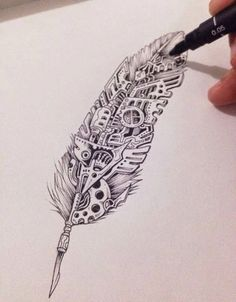 Zentangle and Steampunk and Feathers. Really like the concept of having nature and steampunk combination Tattoo Dotwork, Tattoo Ink, Mandala Tattoo, Quill Tattoo, Gear Tattoo, Steampunk Kunst, Steampunk Drawing, Steampunk Diy, Steampunk Necklace