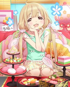 ✮ ANIME ART ✮ food. . .eating. . .candy. . .sweets. . .bento. . .sushi. . .blushing. . .twin tails. . .pastel. . .moe. . .happy. . .cute. . .kawaii