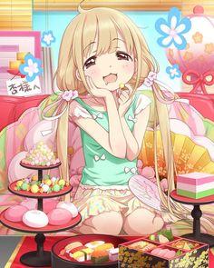 ✮ ANIME ART ✮ food. . .eating. . .candy. . .sweets. . .bento. . .sushi. . .blushing. . .twin tails. . .pastel. . .moe. . .happy. . .cute. . .kawaii