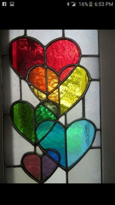 hearts stained glass