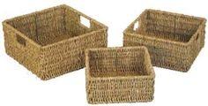 Woodluv Brand New Set Of 3 Square Storage Seagrass Basket (E01-102SETOF3): Amazon.co.uk: Kitchen & Home £8