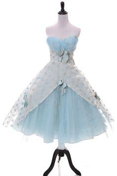 Strapless Tulle 1950s Vintage blue party dress - Dressing Vintage