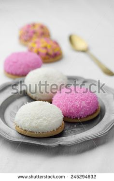 Coconut and colorful marshmallow cookies