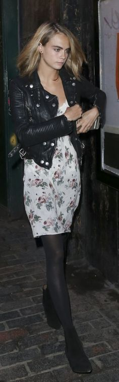 Who made Cara Delevingne's black leather jacket and white floral dress?
