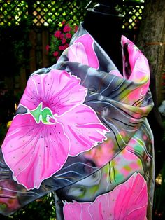 Hand Painted Silk Scarf Orchids women fashion Pink by SilkMagic, $46.00