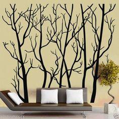 "Large Wall Decor Decal Sticker vinyl tree trunk forest Mural Art 203x180 c""m"