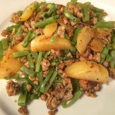 Kipgehakt met snijbonen en Griekse kruiden - Lekker eten met Marlon