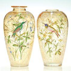 Moser Enameled Bird Vases