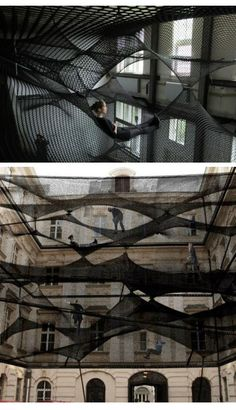 this is net a project by croatian-austraian design group numen/for use. with layers of netting hung is spaces, forming a 'floating landscape' open for visitors to climb and explore. a social art work. house of contemporary art, hasselt, belgium. Landscape Architecture, Landscape Design, Architecture Design, Urban Landscape, Landscape Art, Land Art, Art Public, Public Spaces, Street Art