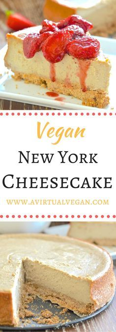 This baked Vegan New York Cheesecake is ultra-rich, decadently creamy dessert perfection. You absolutely need this in your life..... via @avirtualvegan