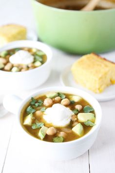 White Chickpea Chili Recipe on twopeasandtheirpod.com This simple vegan chili recipe is great for lunch or dinner! It freezes well too!