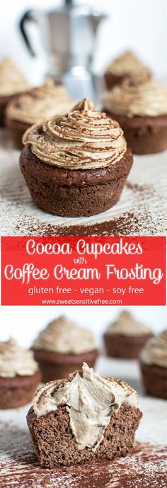 Delicious cocoa cupcakes topped with coffee cream frosting, all vegan & gluten free! Scrumptious cocoa cupcakes topped with a vegan coffee cream frosting! Vegan Chocolate Cupcakes, Vegan Cupcakes, Baking Cupcakes, Yummy Cupcakes, Chocolate Recipes, Cupcake Cakes, Healthy Cupcakes, Coffee Cupcakes, Chocolate Frosting