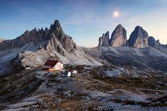 Moonlight over Tre Cime di Lavaredo, Dolomite Alps, Italy