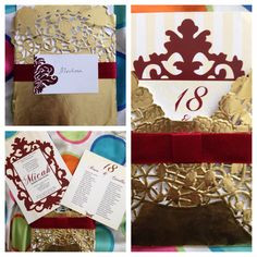 Invitation idea using a paper doiley and ribbon. Motif: gold and red/maroon