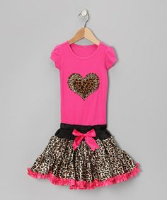 Take a look at this Hot Pink Cheetah Heart Ruffle Dress - Toddler & Girls by Bubblegum Diva on #zulily today!
