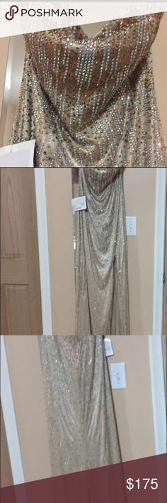 Madison James dress Beautiful gold beaded dress with slit. Size 12 NWT BUT WITH DEFECTS. Some missing beads and a little dusty at the hem. Dresses Strapless