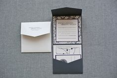 Sophisticated Pocket Fold Wedding Invitation Grey by LamaWorks - love this design in our colours
