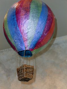 Paper Mache' hot air balloon for spring display!