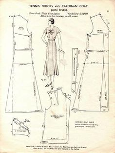 Free Vintage Tennis Frock Dress and Cardigan Coat Sewing Draft Pattern