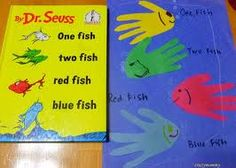 Squish Preschool Ideas: March Ideas- Dr.Seuss Birthday March 2nd Fish Handprint, Fish Activities, Book Activities, Birthday Activities, Birthday Crafts, Number Activities, Alphabet Activities, Dr Seuss Crafts, Two Fish