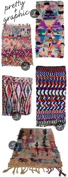 """Boucherouite or """"rag rugs"""" are made with leftover scraps of fabric and inexpensive materials."""