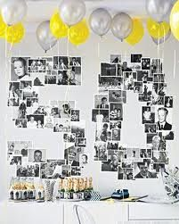 """BANNER: Photos of you & friends shaped in """"50"""" in black and white + turquoise streamers/banner on top"""