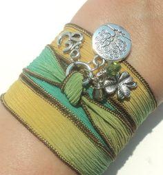 Tree of Life Silk Wrap Bracelet Om Jewelry by BohemianEarthDesigns, $27.95