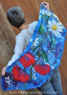 """Wildflowers"" Nuno Felt Art Scarf by Lucy Morar"