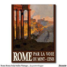 Rome Roma Italy Itallia Vintage Travel Poster Art Postcard