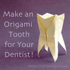 Video tutorial on how to make an origami tooth. A Perfect Gift for a Dentist. Video tutorial for this and many other origami figures. Dental World, Dental Life, Dental Art, Dental Health, Oral Health, Dental Hygiene School, Dental Assistant, Dental Hygienist, Origami Tooth