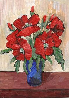 Aceo - Original Painting- Red Poppies- ACEO ORIGINAL- art card - flowers- Bouquet- original artwork acrylic painting on Etsy, $13.14 CAD