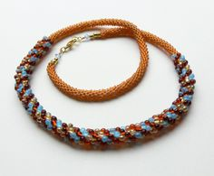 Kumihimo necklace, seed beads necklace, brown ... | Kumihimo With Bea ... - NOT A TUTORIAL, JUST AN IDEA