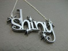 Shiny Necklace in Silver Color Science Fiction by casstasstrophe, $23.00