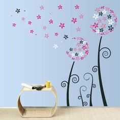 Click here to buy the Dandelion Wall Decal - Pink and White Blowing Dandelion Wall Decal for only $50.00