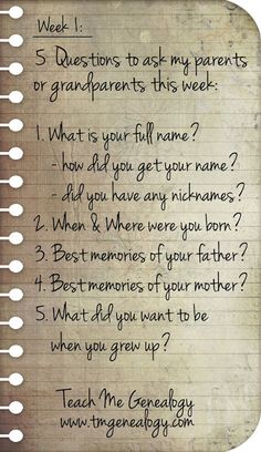 5 Questions To Ask Your Parents or Grandparents This Week. Week 1