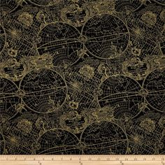 Gold Standard Metallic New World Map Black/Gold from @fabricdotcom  Designed by Maria Kalinowski for Kanvas in association with Benartex, this cotton print fabric is perfect for quilting, apparel and home decor accents. Colors include black and metallic gold.