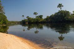 Praia deserta na fazenda da Korubo